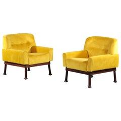 Pair of Italian Armchairs ISA Bergamo Vintage Yellow
