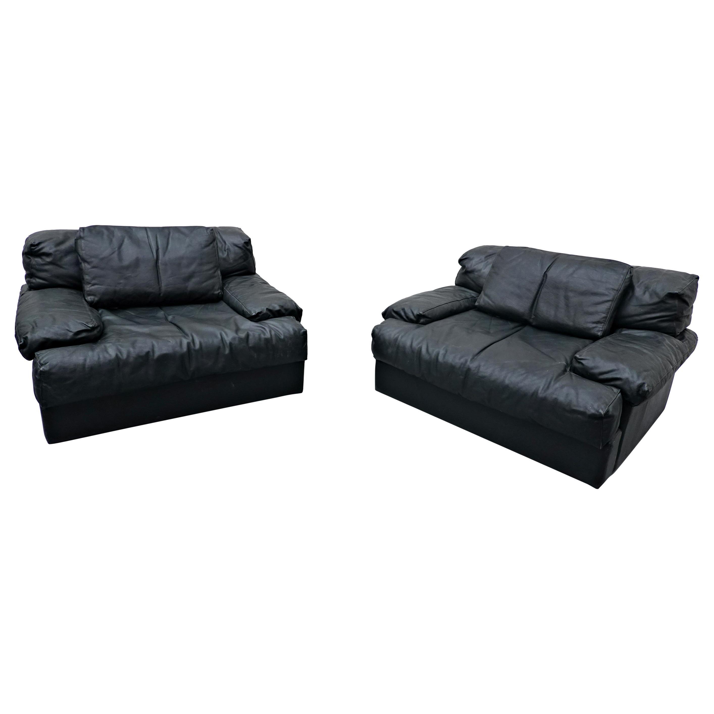 Pair of Italian Mid-Century Modern Armchairs, Black Leather, 1960s