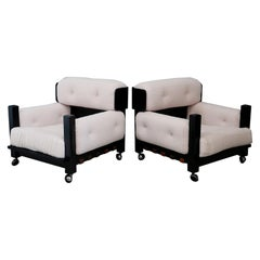 Pair of Italian Armchairs Midcentury in Bouclé Fabric White and Black Wood, 1960