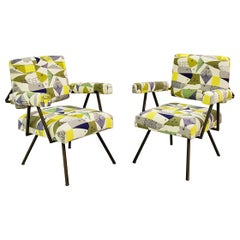 Pair of Italian Armchairs, New Fish Woven Fabric Upholstery