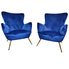 Pair of Italian Armchairs, New Upholstery, 1950s