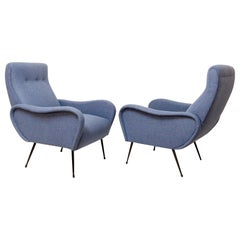 Pair of Italian Armchairs, New Upholstery