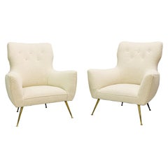 Pair of Italian Armchairs, New Upholstery, Italy, 1950s
