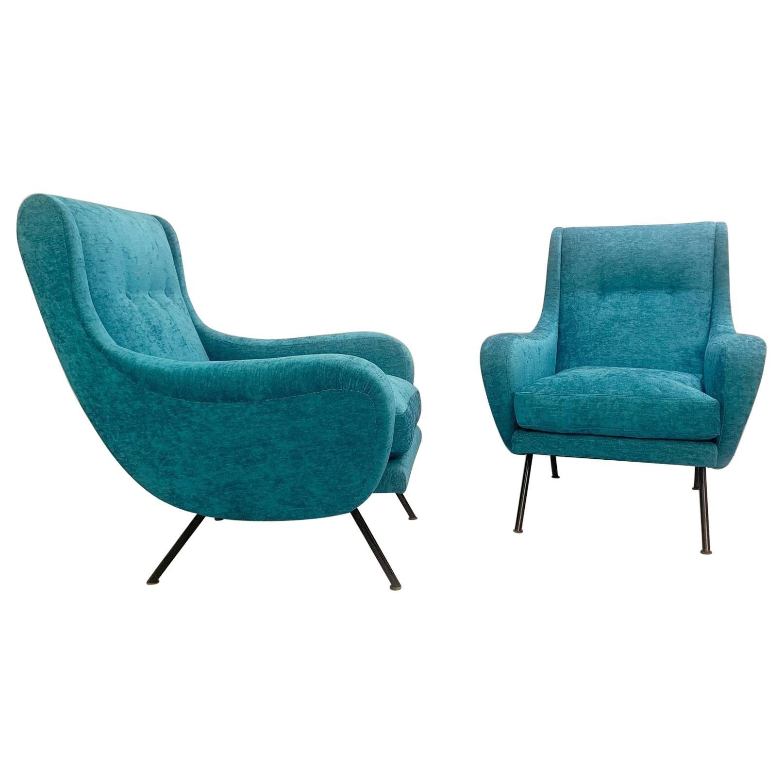 Pair of Italian Armchairs, New Velvet Upholstery, 1950s
