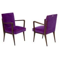 Pair of Italian Armchairs of Fratelli Consonni Production in Purple Velvet