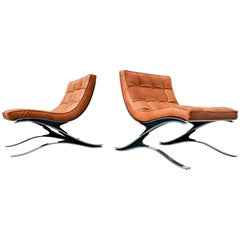 Pair of Italian Armchairs Pizzetti, Steel and Leather, 1970s