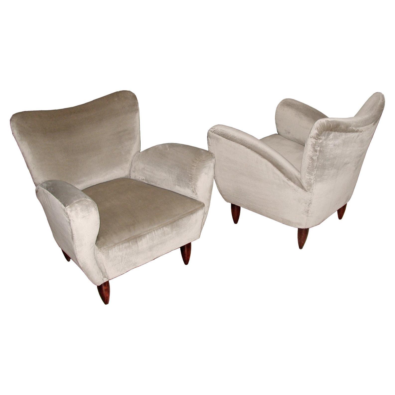 Pair of Italian Armchairs Reupholstered in Luxurious Velvet