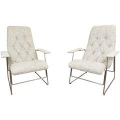 Pair of Italian Armchairs, Seat Position Adjustable, 1960s