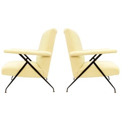Pair of Italian Armchairs with Adjustable Backrests, New Cream Upholstery