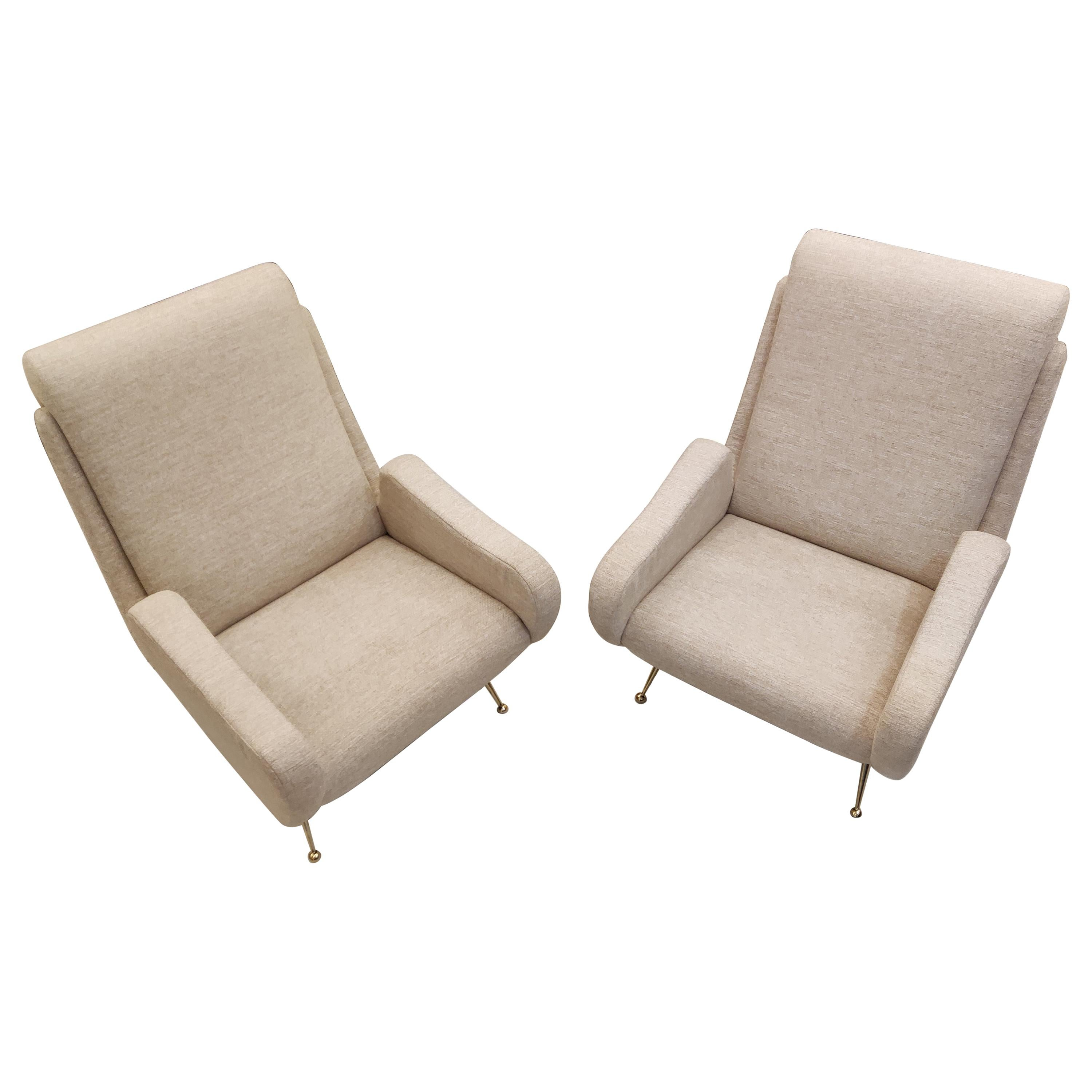 Pair of Italian Armchairs with Brass Feet, Beige Fabric 'Reupholstered'