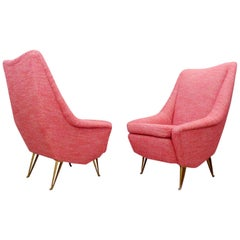 Pair of Italian Armchairs with High Backs, New Upholstery