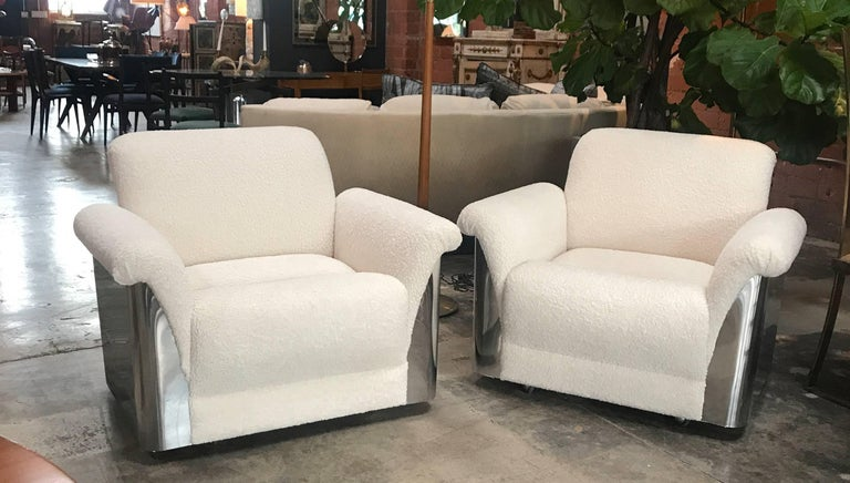 Bellissime Italian armchairs! With steel; what more could you ask for.
