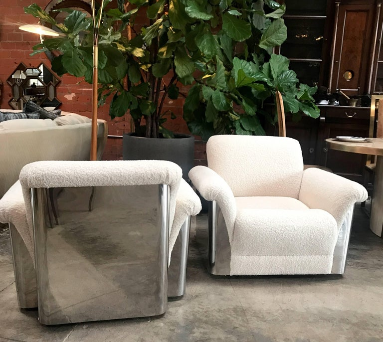 Pair of Italian Armchairs with New Upholstery and Chromed Steel Bases In Excellent Condition For Sale In Los Angeles, CA