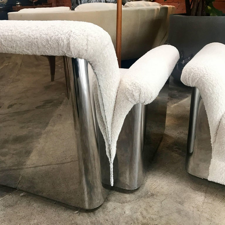 Late 20th Century Pair of Italian Armchairs with New Upholstery and Chromed Steel Bases For Sale
