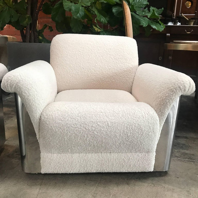 Metal Pair of Italian Armchairs with New Upholstery and Chromed Steel Bases For Sale