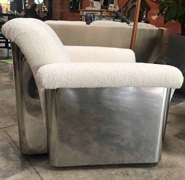 Pair of Italian Armchairs with New Upholstery and Chromed Steel Bases For Sale 2
