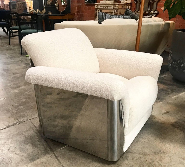 Pair of Italian Armchairs with New Upholstery and Chromed Steel Bases For Sale 3