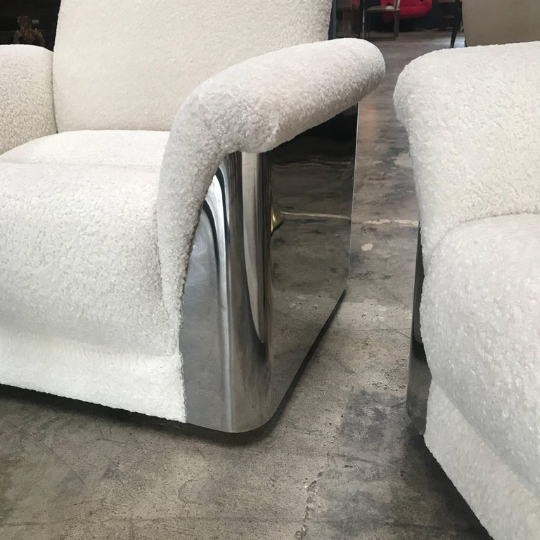 Pair of Italian Armchairs with New Upholstery and Chromed Steel Bases For Sale 4