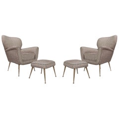Pair of Italian Armchairs with Ottomans, New Upholstery