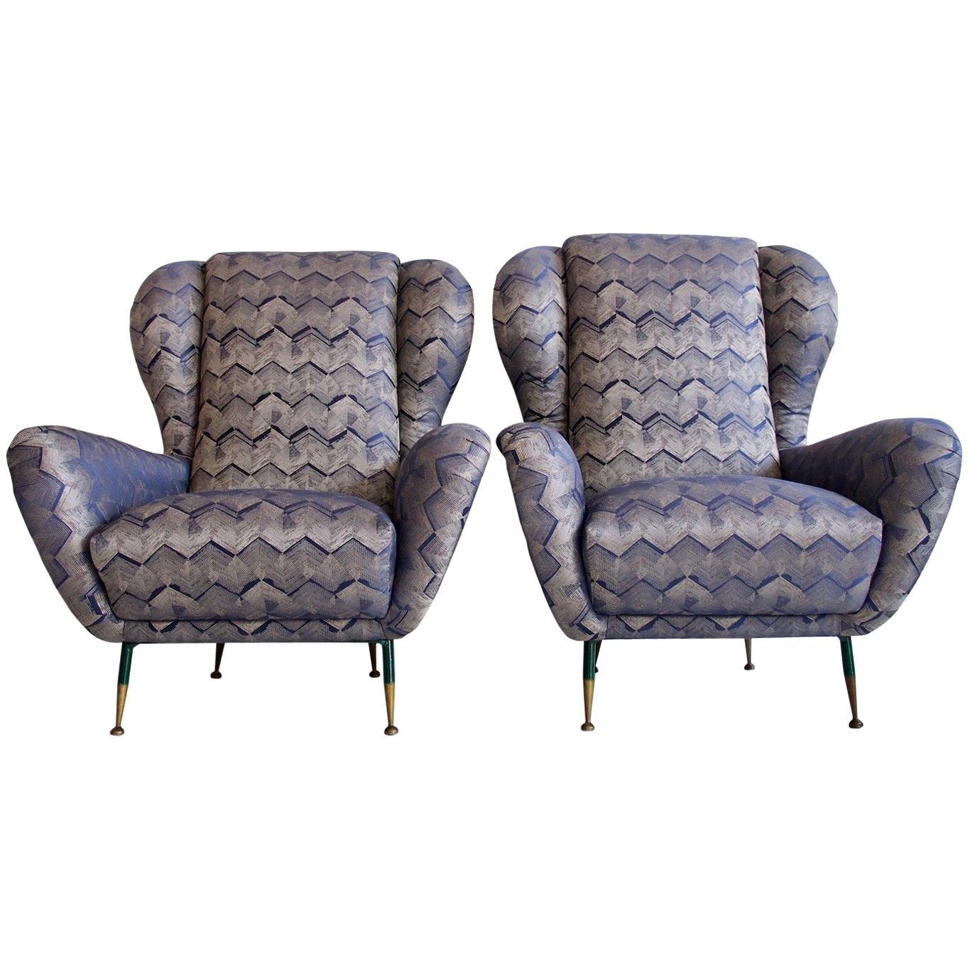 Pair of Italian Armchairs with Slim Brass Feet