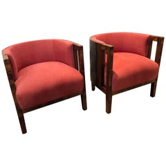 Pair of Italian Art Deco, 1930s Chairs in Walnut with Newly Upholstered Seating
