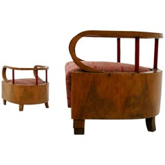 Pair of Italian Art Deco Armchairs Attributed to Giuseppe Terragni, 1920s