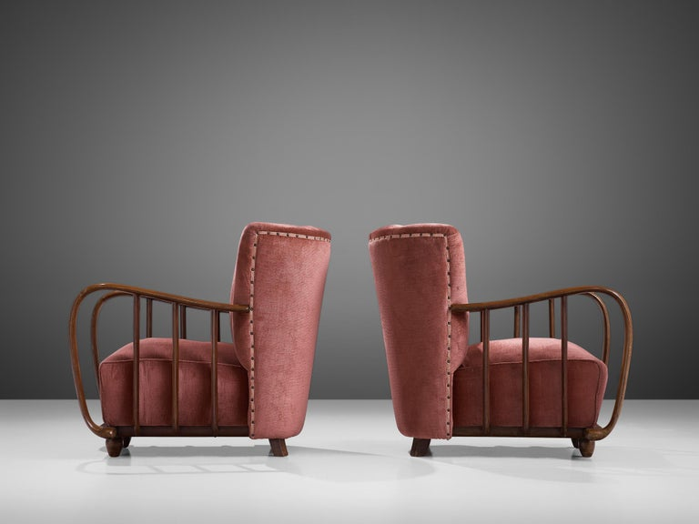 Velvet Pair of Italian Art Deco Armchairs with Coral Upholstery, 1940s For Sale