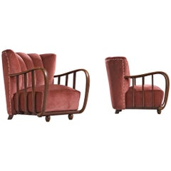 Pair of Italian Art Deco Armchairs with Coral Upholstery, 1940s
