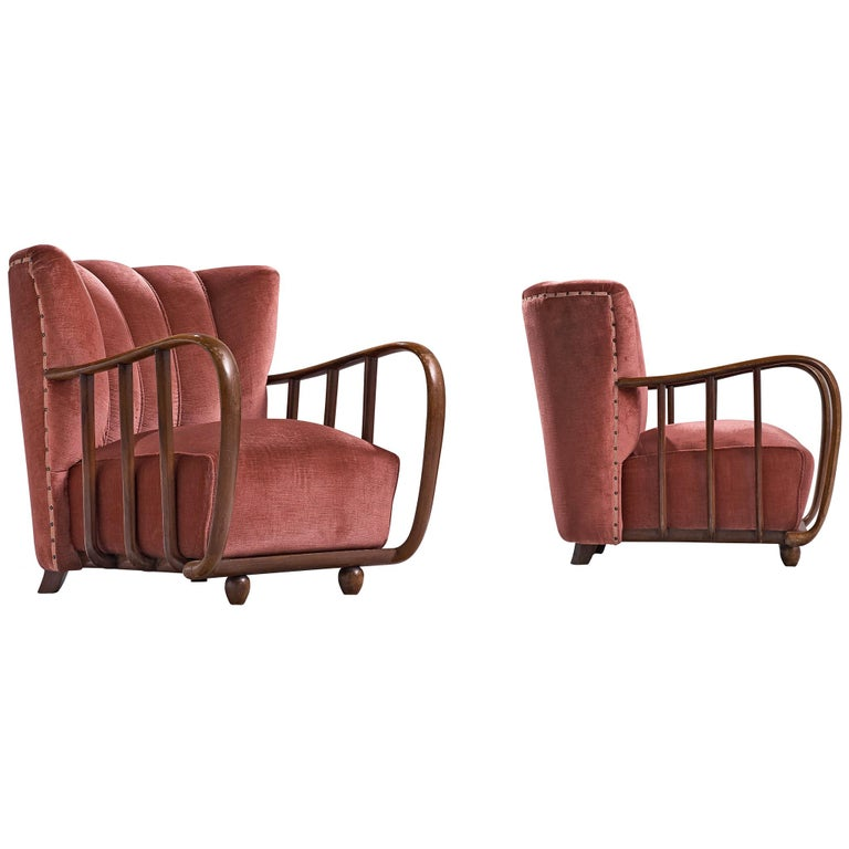 Pair of Italian Art Deco Armchairs with Coral Upholstery, 1940s For Sale