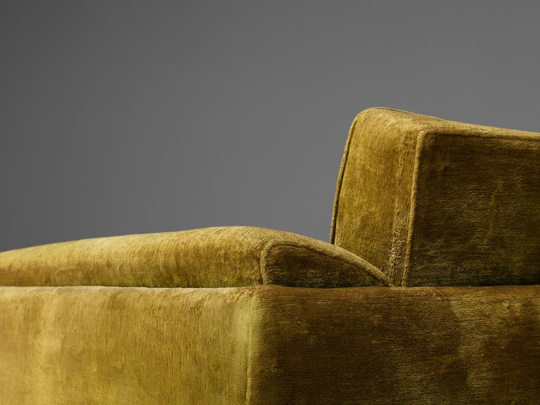 Pair of Italian Art Deco Armchairs with Curved Frame For Sale 5