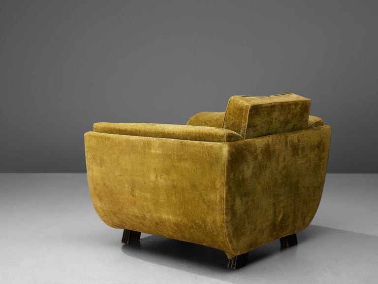 Upholstery Pair of Italian Art Deco Armchairs with Curved Frame For Sale