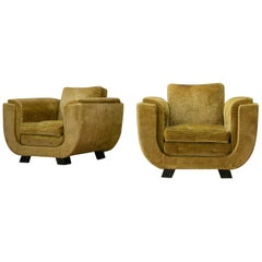 Pair of Italian Art Deco Armchairs with Curved Frame