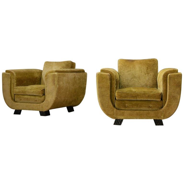 Pair of Italian Art Deco Armchairs with Curved Frame For Sale