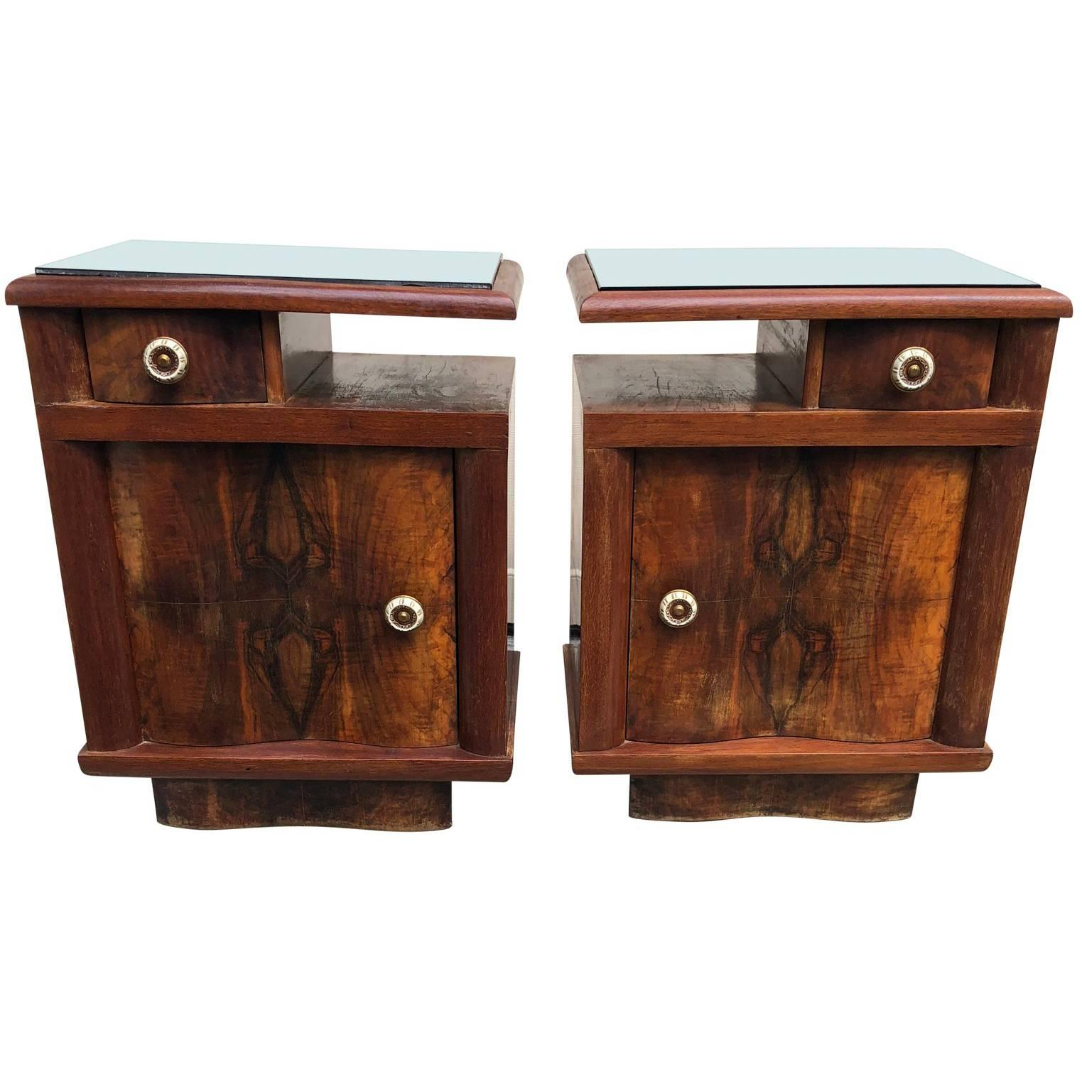 Pair Of Italian Art Deco Bed Side Tables Or End Tables