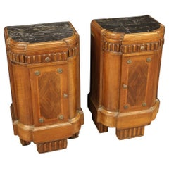 Pair of Italian Art Deco Bedside Tables, 20th Century