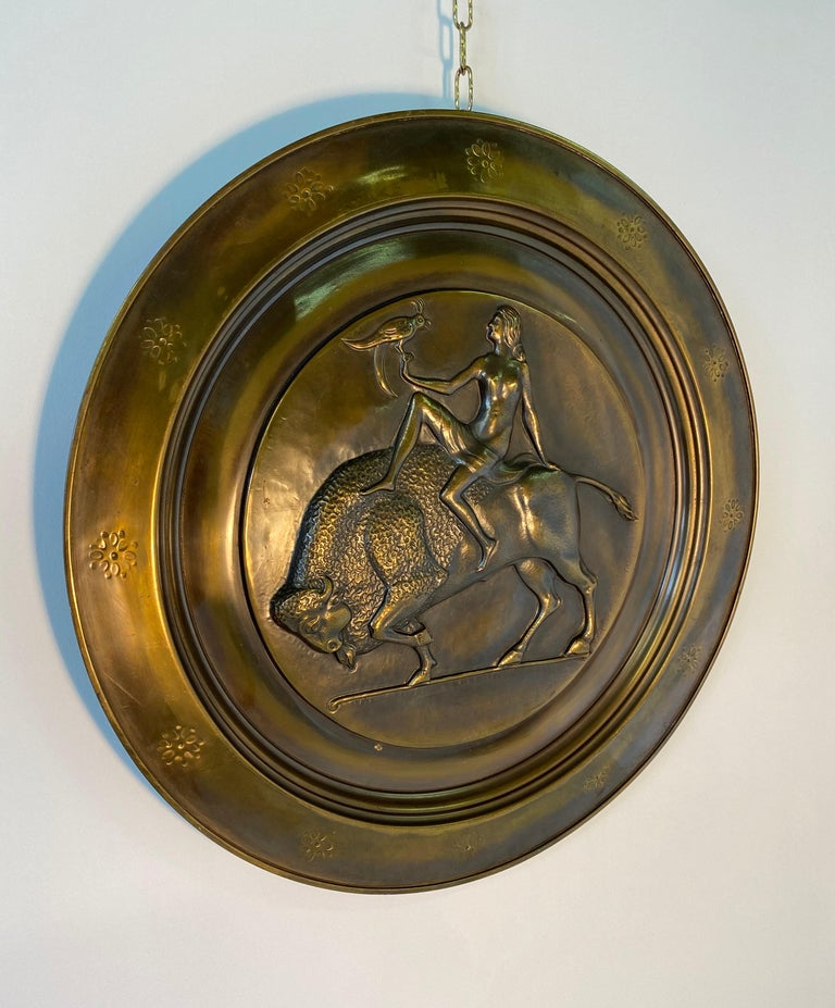 Pair of Italian Art Deco Brass Plate, 1940s In Good Condition For Sale In Meda, MB