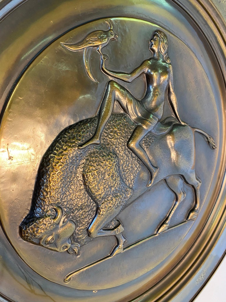 Pair of Italian Art Deco Brass Plate, 1940s For Sale 1