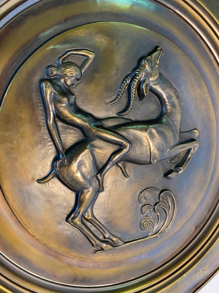 Pair of Italian Art Deco Brass Plate, 1940s For Sale 2