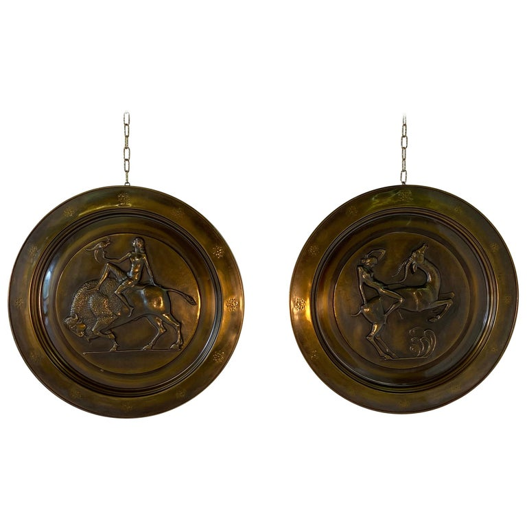 Pair of Italian Art Deco Brass Plate, 1940s For Sale