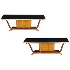 Pair of Italian Art Deco Console Tables Attributed to Osvaldo Borsani, 1940