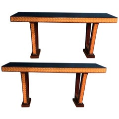 Pair of Italian Art Deco Console Tables Attributed to Osvaldo Borsani, 1940