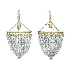 Pair of Italian Art Deco Crystal Glass Basket Chandeliers