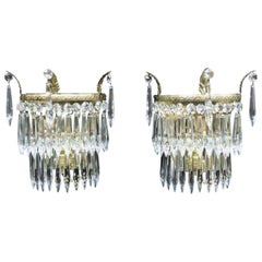 Pair of Italian Art Deco Crystal Glass Two-Tier Wall Lights