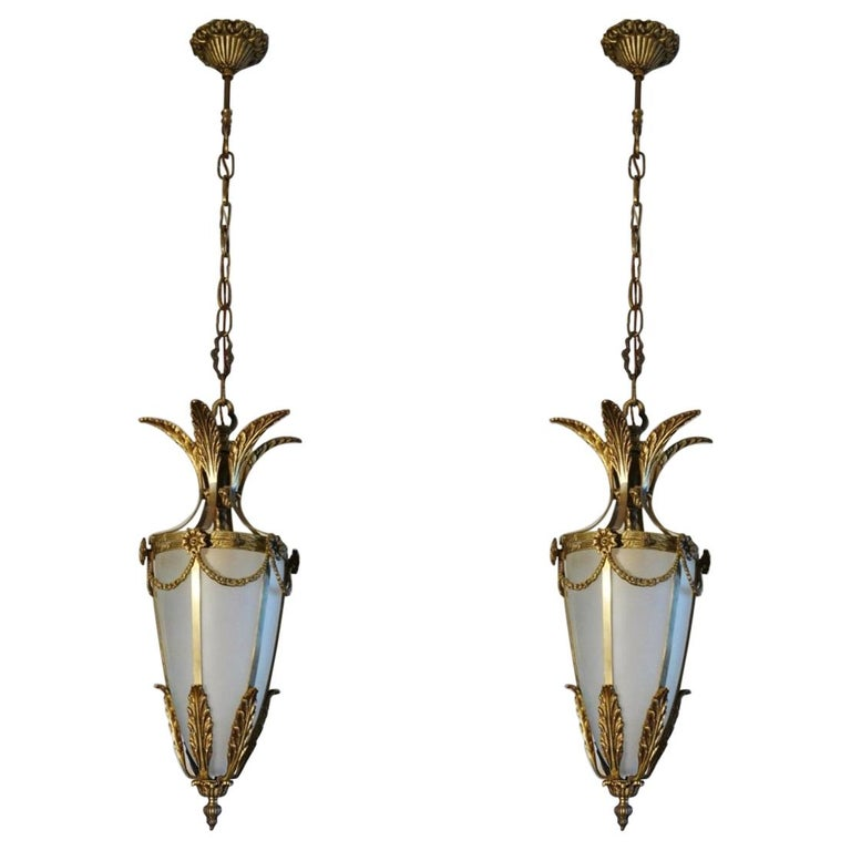 Pair of Italian Art Deco Gilt Bronze Fronted Glass Lanterns For Sale