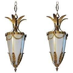 Pair of Italian Art Deco Gilt Bronze Fronted Glass Lanterns