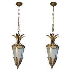 Pair of Italian Art Deco Gilt Bronze Fronted Glass Lanterns