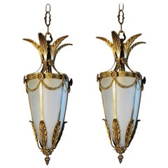 Pair of Italian Art Deco Gilt Bronze Fronted Glass Lanterns, 1920s