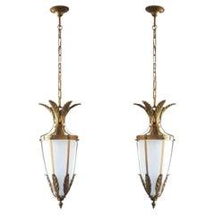Pair of Italian Art Deco Gilt Bronze Satin Glass Lanterns, 1930s