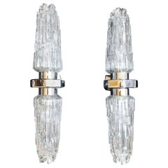 Pair of Italian Art deco Ice Glass Chrome Double Wall Lights Sconces