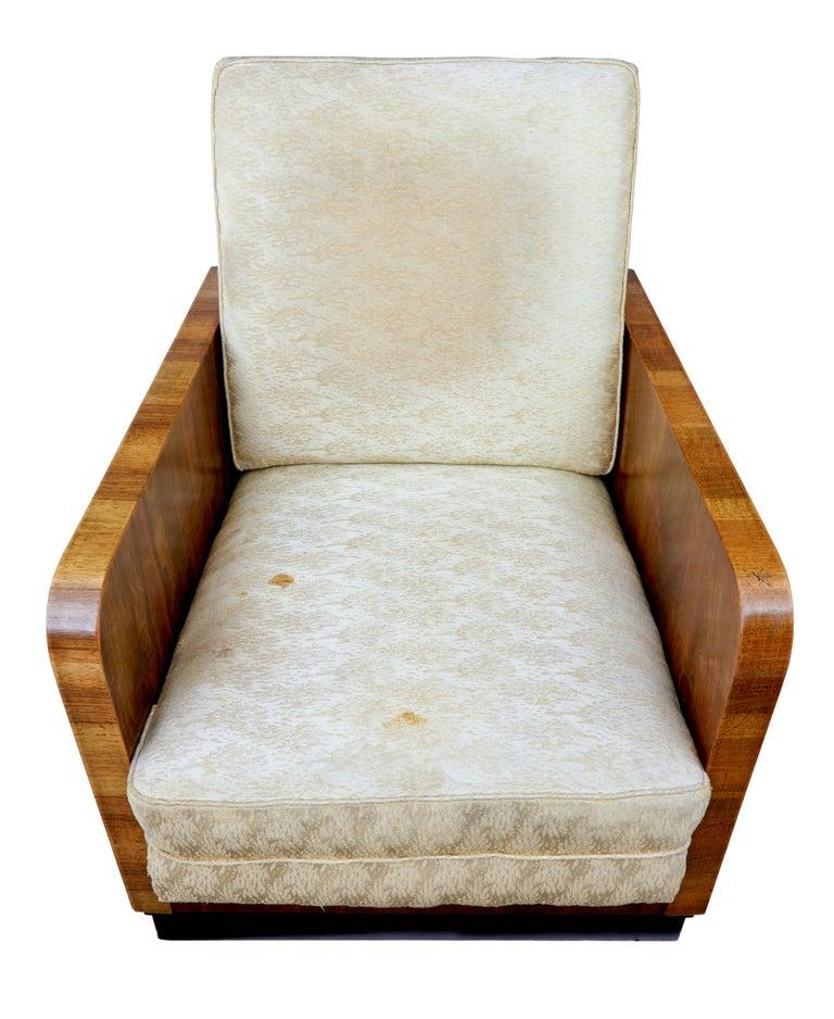 20th Century Pair of Italian Art Deco Inspired Walnut Armchairs For Sale